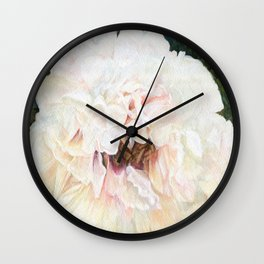 White Peony Watercolor Botanical Art Wall Clock