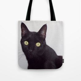 Pretty Kitty, Black Cat With Huge Green Eyes, Halloween Cat Tote Bag