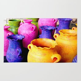 colorful clay pots Rug