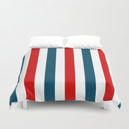 Blue and Red Stripes Duvet Cover