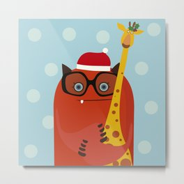 Holiday illustration with red monster and giraffe Metal Print