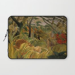 """Henri Rousseau """"Tiger in a Tropical Storm (Surprised!)"""", 1891 Laptop Sleeve"""