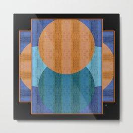 Orange Blues Geometric Shapes Metal Print