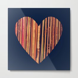 Valentine's Day Vinyl Records Heart Hipster Metal Print