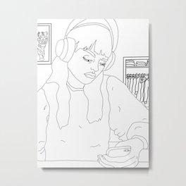 On the phone Metal Print