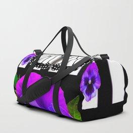 PURPLE PANSIES & WHITE MONARCH BUTTERFLY  BLACK ART Duffle Bag