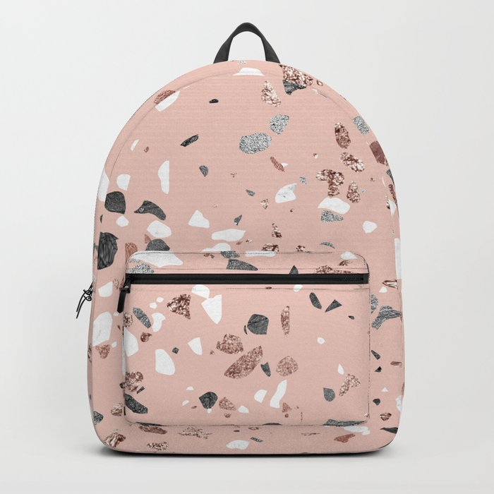 Pink Quartz and Marble Terrazzo Backpack