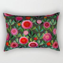 Bright Blooms Hand-Print Floral - Dark Rectangular Pillow