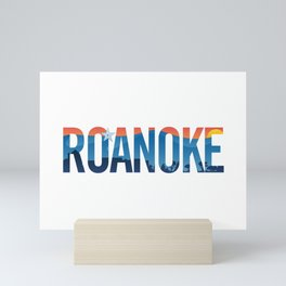 Roanoke pride illustration with mountains, star, city scape and sunset Mini Art Print