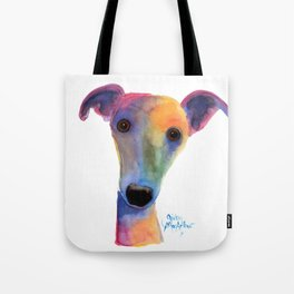 Nosey Dog Whippet Greyhound ' PANSY ' by Shirley MacArthur Tote Bag
