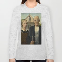 American Gothic Oil Painting by Grant Wood Long Sleeve T-shirt