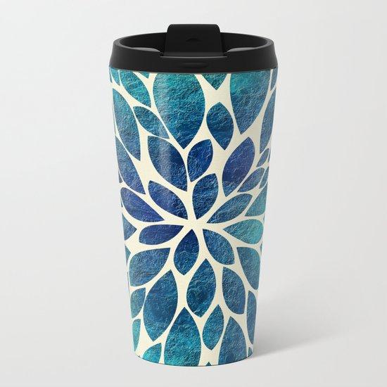 Petal Burst - Turquoise Metal Travel Mug