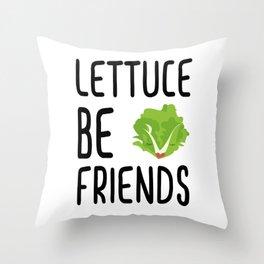 Lettuce Be Friends #lettuce #illustration #veggie #vegan #friends #green #veggiegift Throw Pillow