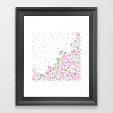 Garden Rose and Dots - Blush Framed Art Print