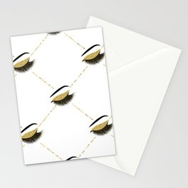 Lashes with gold glitter Stationery Cards