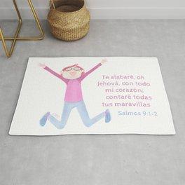 "Salmo 9:1 ""Te alabaré oh Dios"" Rug"
