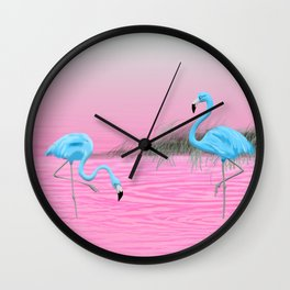 Pink Lake and the Blue Flamingos Wall Clock