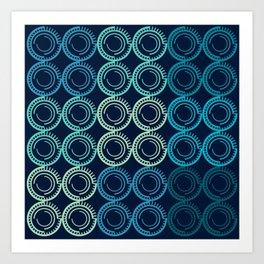 Blue Circles Abstract Pattern Art Print