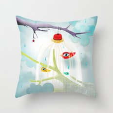 Abstract Cage Birds and Branches  Throw Pillow