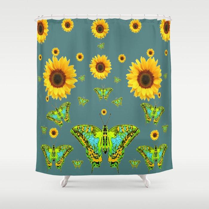 SUNFLOWERS & GREEN MOTHS ABSTRACT ART Shower Curtain