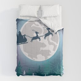 Santa Claus Sleight Moon Flying Comforters