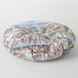 Sky Panorama Map of North Cascade National Park Floor Pillow