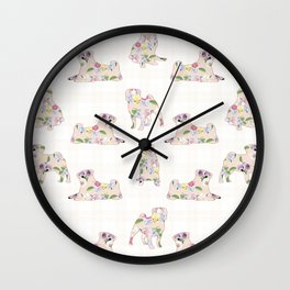 Floral Pug Pattern Wall Clock