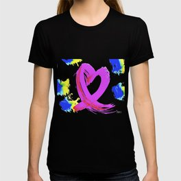 Pink Heart Ribbon (with Tie-Dye Blue-Yellow) for Breast Cancer Research by Jeffrey G. Rosenberg T-shirt