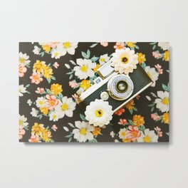 Floral Vintage Camera (Color) Metal Print