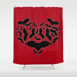 Batty Love Red Shower Curtain