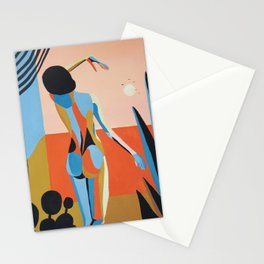 Sunrise. Woman and window Stationery Cards
