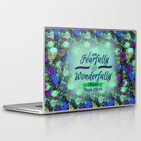 scripture Laptop & iPad Skins featuring FEARFULLY AND WONDERFULLY MADE Floral Christian Typography God Bible Scripture Jesus Psalm Abstract by The Faithful Canvas