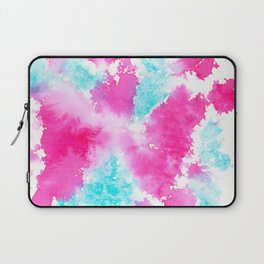 Abstract bright pink turquoise watercolor brushstrokes Laptop Sleeve