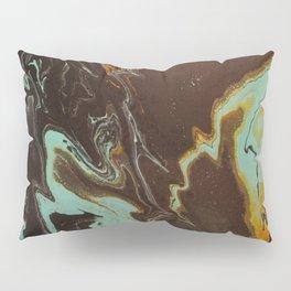Fluid Art Acrylic Painting, Pour 3 - Black, Orange & Turquoise Blended Color Pillow Sham