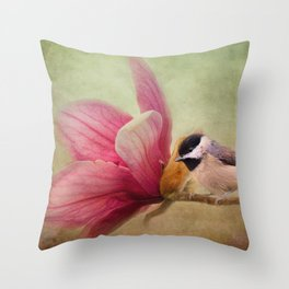 Welcome Spring - Chickadee - Bird and Flower Throw Pillow