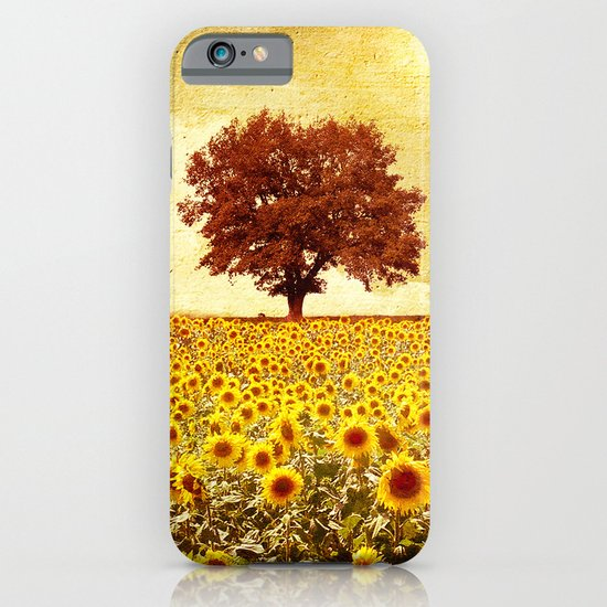 lone tree & sunflowers field iPhone & iPod Case
