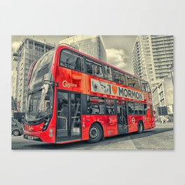 London Mormon Red Bus Canvas Print