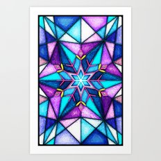Stained Snowflake. Art Print