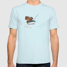 Bear Fishing Light Blue SMALL Mens Fitted Tee