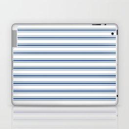 Mattress Ticking Wide Horizontal Stripe in Dark Blue and White Laptop & iPad Skin