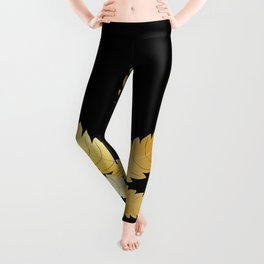 Gold Cannabis Leaf Leggings