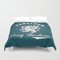 dragon age Duvet Covers featuring Dragon Age - Ferelden Grey Wardens by firlachiel