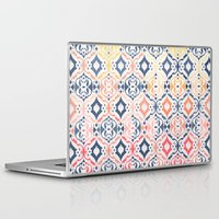 ikat Laptop & iPad Skins featuring Tropical Ikat Damask by micklyn