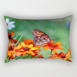 Gulf Fritillary On Zinnia Rectangular Pillow