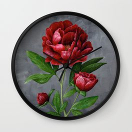 Red Peony Flower Painting Wall Clock