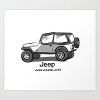 jeep Art Prints featuring Jeep by Mister Abigail