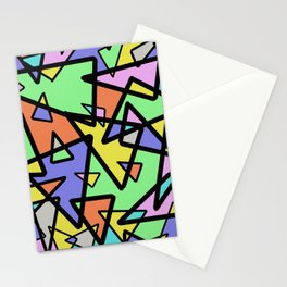 Triangulation - Geometric, pastel coloured abstract design, green, red, yellow, pink, blue Stationery Cards