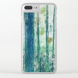 Collagraph print- enchanted forest Clear iPhone Case