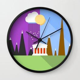 Landscape - sun and rain - Material Design  Wall Clock
