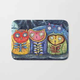 Dia de Muertos Owl Party Bath Mat